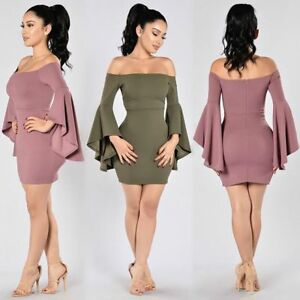 Olive Green Off the Shoulder Bell Sleeve Body Con Dress