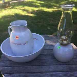 Pottery wash bowl, pitcher & oil lamp