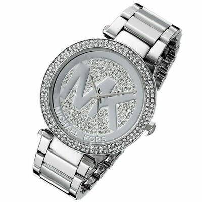 Michael Kors Women's Parker Silver Stainless Steel Pave Dial Watch 39mm MK5925