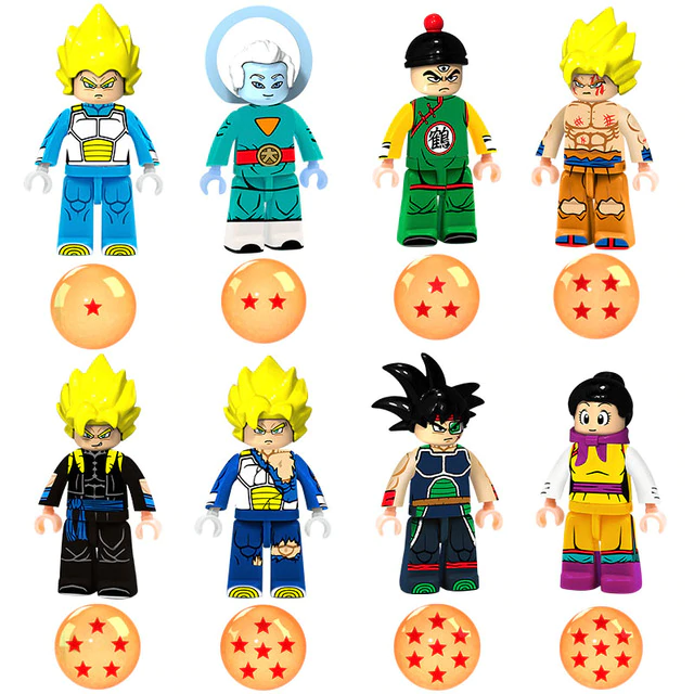 Count:8 figures C:24pcs Dragon Ball Z Action For Lego Figure Super Goku Building Block Toy Heroes