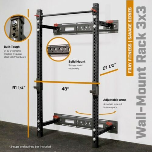 """Fray Fitness Commercial Grade 21.5"""" Fold Back Wall Mounted Power Rack Home Gym"""