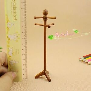 1 12 dollhouse miniature furniture classic wooden hang for Furniture to hang clothes