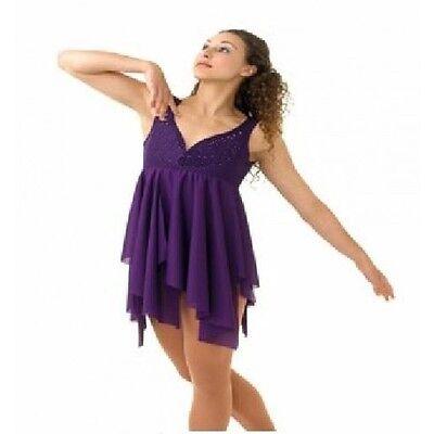 DANCIN IN THE DARK Dance Costume Attached Crepe Panel Skirt Child Medium New