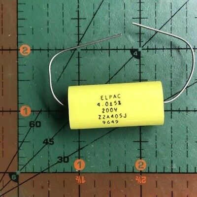 4uf 200v 5 Elpac Axial Film Capacitor Z2a405j Metallzd Polyester Audio Oval 2pc