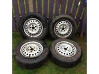 FOUR VW TRANSPORTER T4 15 INCH STEEL WHEELS WITH FOUR GOOD TYRES