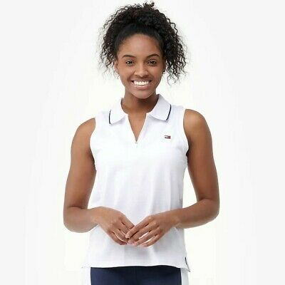 - Tommy Hilfiger Womens Polo Shirt Sleeveless Zip V-neck Stretch Top S New White