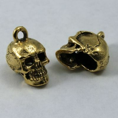 (15mm Antique Gold Cast Metal Skull Charm #CMC753)