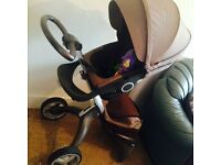 stokke brown v3 for sale in very good condition with new cote and accessories only for £200