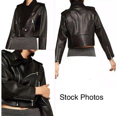 BCBG MAXAZRIA Women XXS Black Zipper Aubree Cropped Moto Leather Jacket $578 NEW