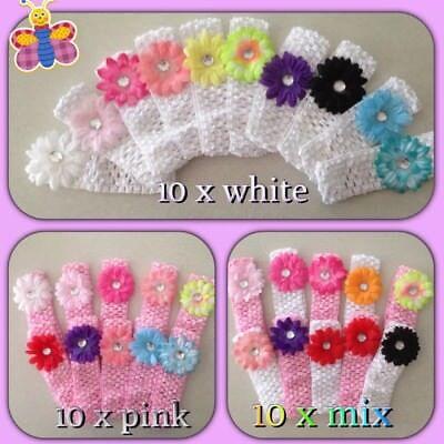 BABY HEADBANDS  10 x  bulk CUTE   girls headband with flowers