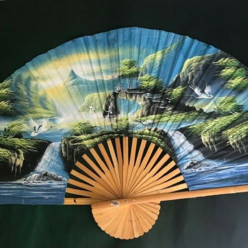 LARGE HAND PAINTED JAPANESE FAN