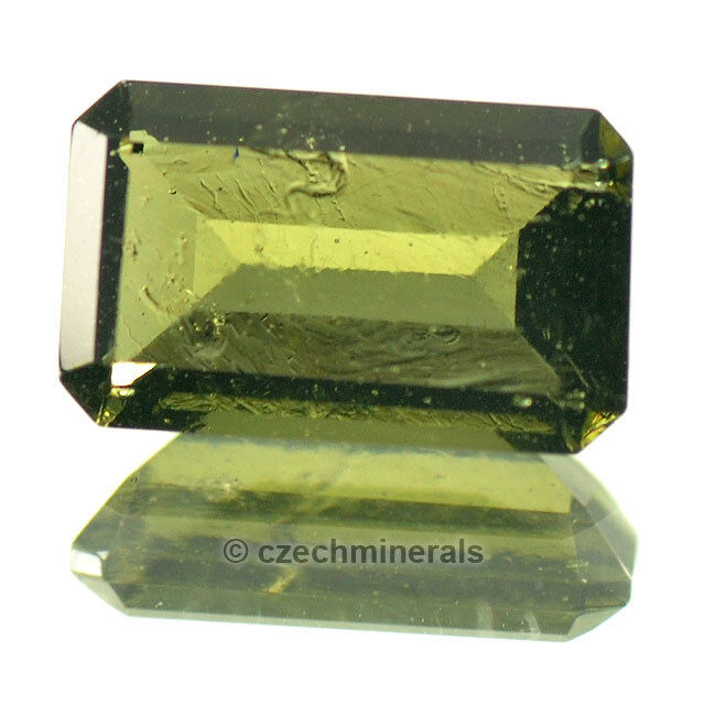 2.08cts rectangle 7x11mm moldavite faceted cutted gem BRUS729
