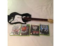 XBOX 360 wireless Fender Guitar + 4 games VGC