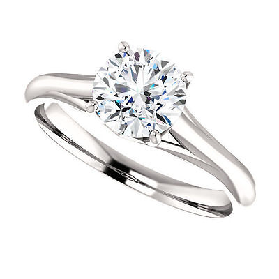 1ct Forever Brilliant Moissanite Solitaire Engagement Ring 14k White Gold