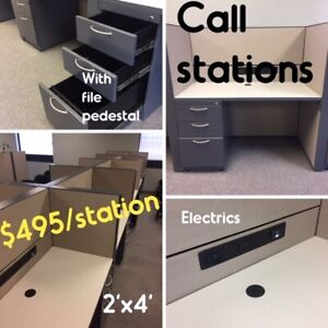 """CALL CENTRE STATIONS, LIKE NEW, 6'X6"""" """"L"""" CUBICLES, ALL LIKE NEW"""