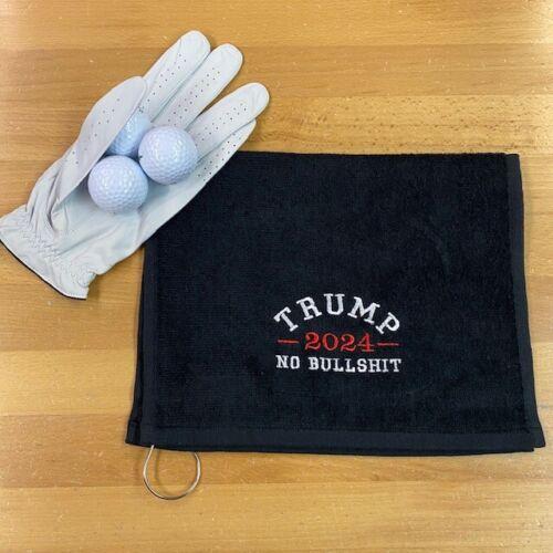 TRUMP 2024 NO BULLSHIT Black Golf Towel 2024 Embroidered