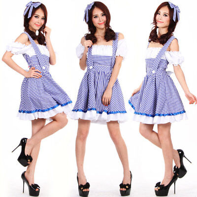 Ladies Wizard of OZ Dorothy Halloween Cosplay Fancy Dress Up Costume Outfit