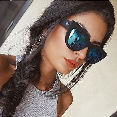 NEW QUAY Kitti Black Sunglasses with Blue Mirrored lenses