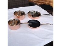 'Infinity copper tri-ply pans. Copper exterior, aluminium core and stainless steel interior.