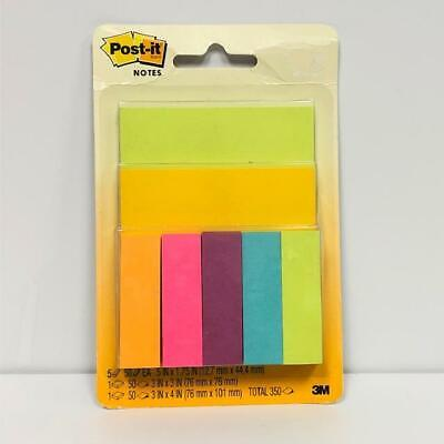 Post It Note Variety Pack 3 Sizes .5 X 1.75 3 X 3 3 X 4 Multi Colors New