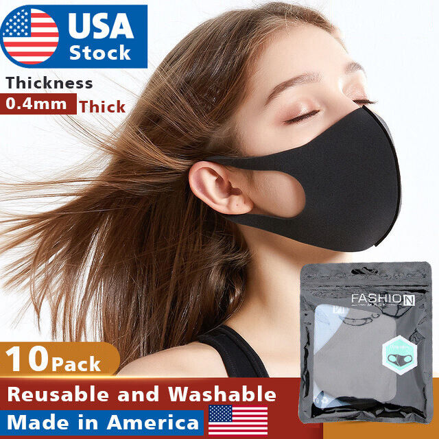 10 Pack Reusable Face Mask Black Washable Masks Breathable Unisex 0.4mm Thick Accessories