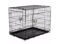 Dog Puppy Cage Folding 2 Door Crate with Non-Chew Metal Tray - Medium Size