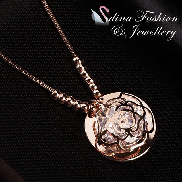 18K Rose Gold Plated Simulated Diamond Exquisite Round Shaped Rose Necklace