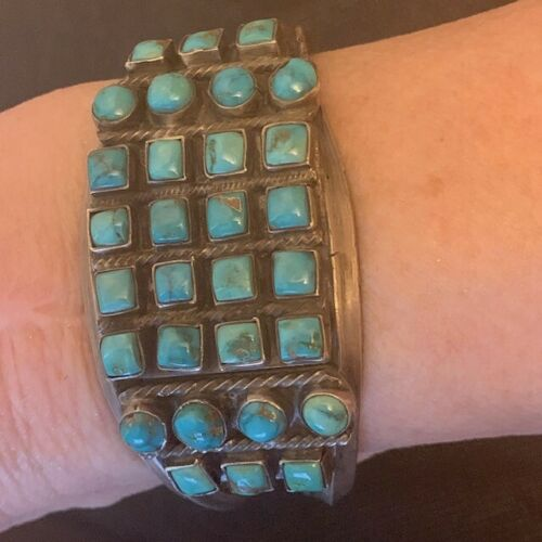 Best! Navajo Natural Turquoise Rare Cut Stone Row Bracelet Hand Constructed MidC