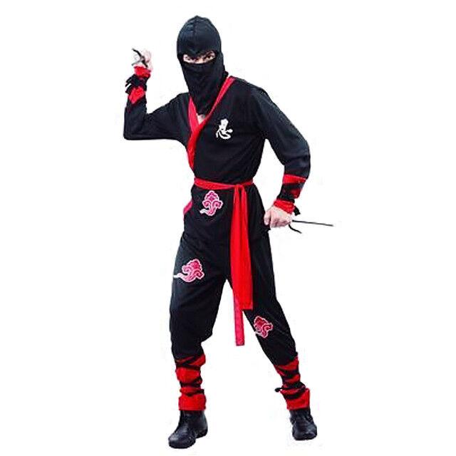 SW Mens Costume Fancy Dress Black Red Ninja Karate Kung Fu Martial Art Size M L