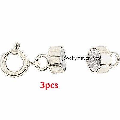 3 pcs 925 Sterling Silver SS MAGNETIC CLASP Converter Bracelet Necklace 4.5mm