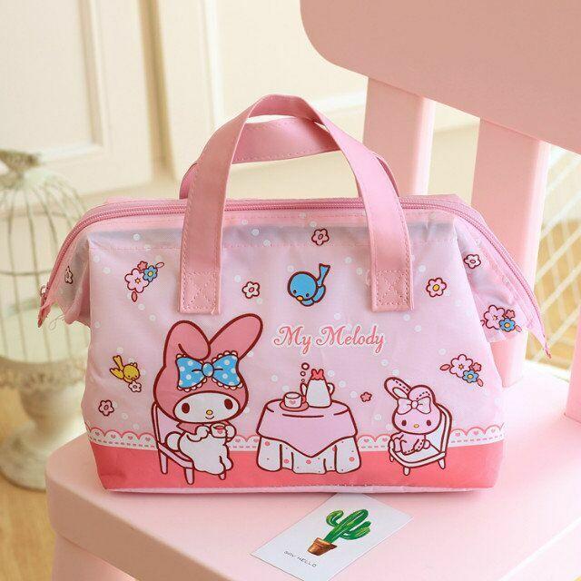 Cute My Melody Lunch Box Bag Storage Bag Handbag Insulation Picnic Bag Tote