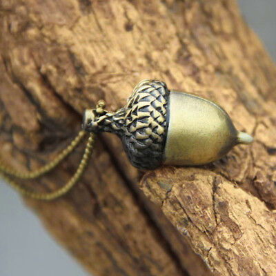 "Burnished Gold Acorn Necklace 27"" Chain - Fall Autumn - Oak Tree - Boho - Nature"