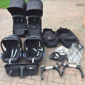 Bugaboo Donkey Duo Including Car Seats, Adaptors and Accessories