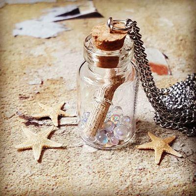 Handmade MESSAGE IN A BOTTLE NECKLACE cute GLASS jar IRIDESCENT bubbles FAB! ()