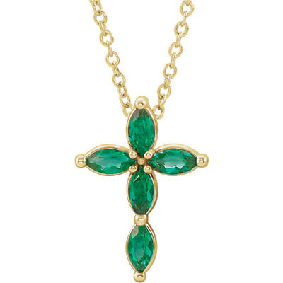 Created Emerald Cross - Chatham® Created Marquise Emerald Cross 16-18