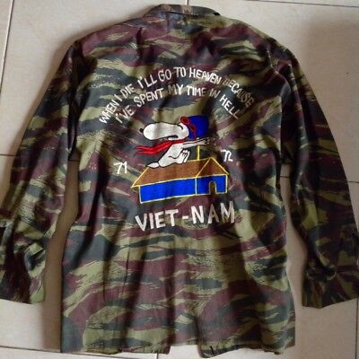 Vintage VIETNAM war peanuts viet-nam fatigue embroidery souvenir shirt size 42