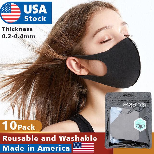 10 pack Face Mask Black Washable polyurethane Reusable Breathable Unisex Masks Accessories