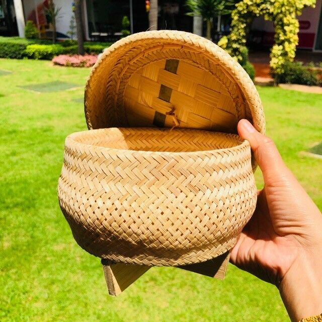 Thai Sticky Rice Steamer Cooker Basket Bamboo Easy in Rice C