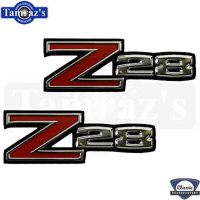 "70-74 Camaro  ""Z-28""  Z28 Z/28 Front Fender Emblem ADHESIVE Back - PAIR"