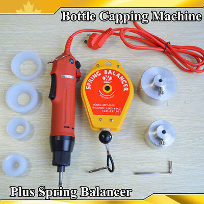 220v Electric Hand Bottle Capping Machine Spring Balancer 4 Silicon Rubber Pad