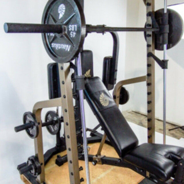 Fitness Equipment Advertisements: Nautilus Smith Machine + Weights And Attachments