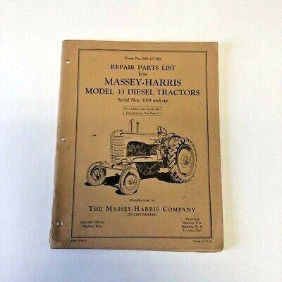 Repair Parts List Massey Harris Model 33 Diesel Tractors