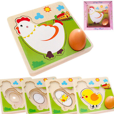 wooden toy baby game 4 layers story puzzle hen Lay egg chick hatch poult - Egg Baby Game