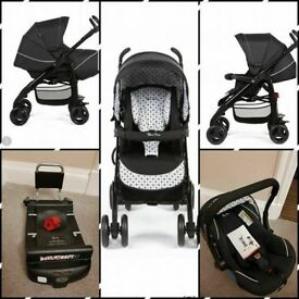 Silver Cross 3D Monochrome Travel System including isofix base.