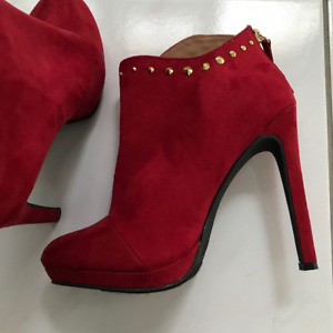 Brand New Red Suede Ankle boots