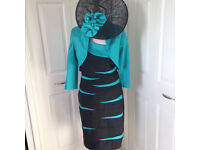 Designer Frank Lyman Mother of the Bride Outfit suit sz 10 12 14 Dress jacket + free fascinator hat