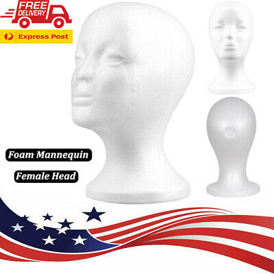 White Female Mannequin Head Model Wigs Hat Cap Display Stand Styrofoam Foam Usa