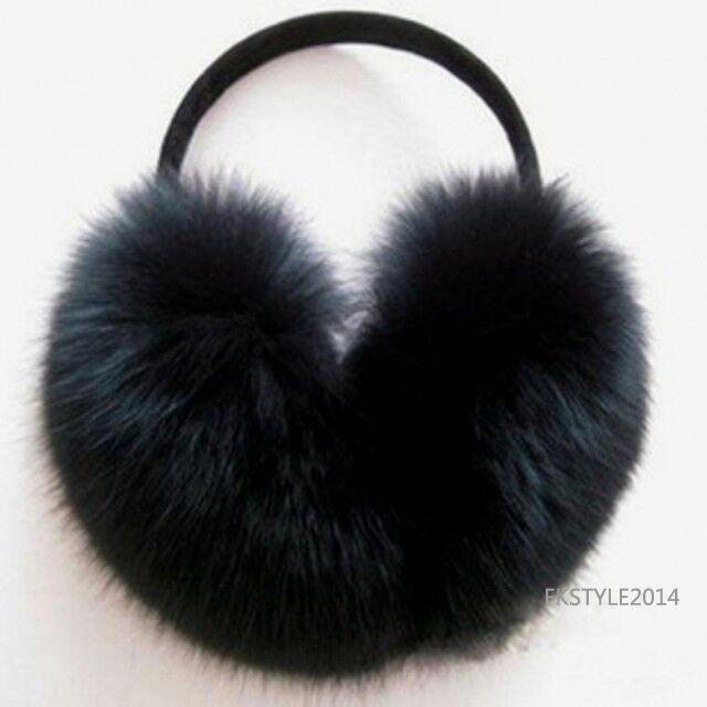 1 pc Winter Big Lady Women Warm Real Fox Fur Earmuff /Ear warmer
