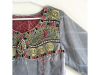 Asian Designer Suit/Grey Velvet Gown Dress / shalwar Kameez / Indian/ Pakistani