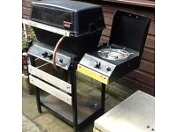 Gas barbecue & gas bottle including lava coals & side burner